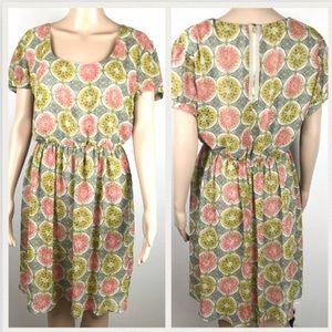Lovedrove UK Geometric print tan A-line dress